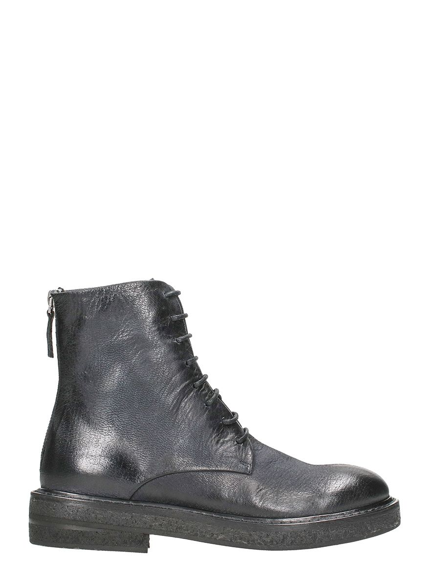 Marsell Parrucca Black Leather Combat Boots