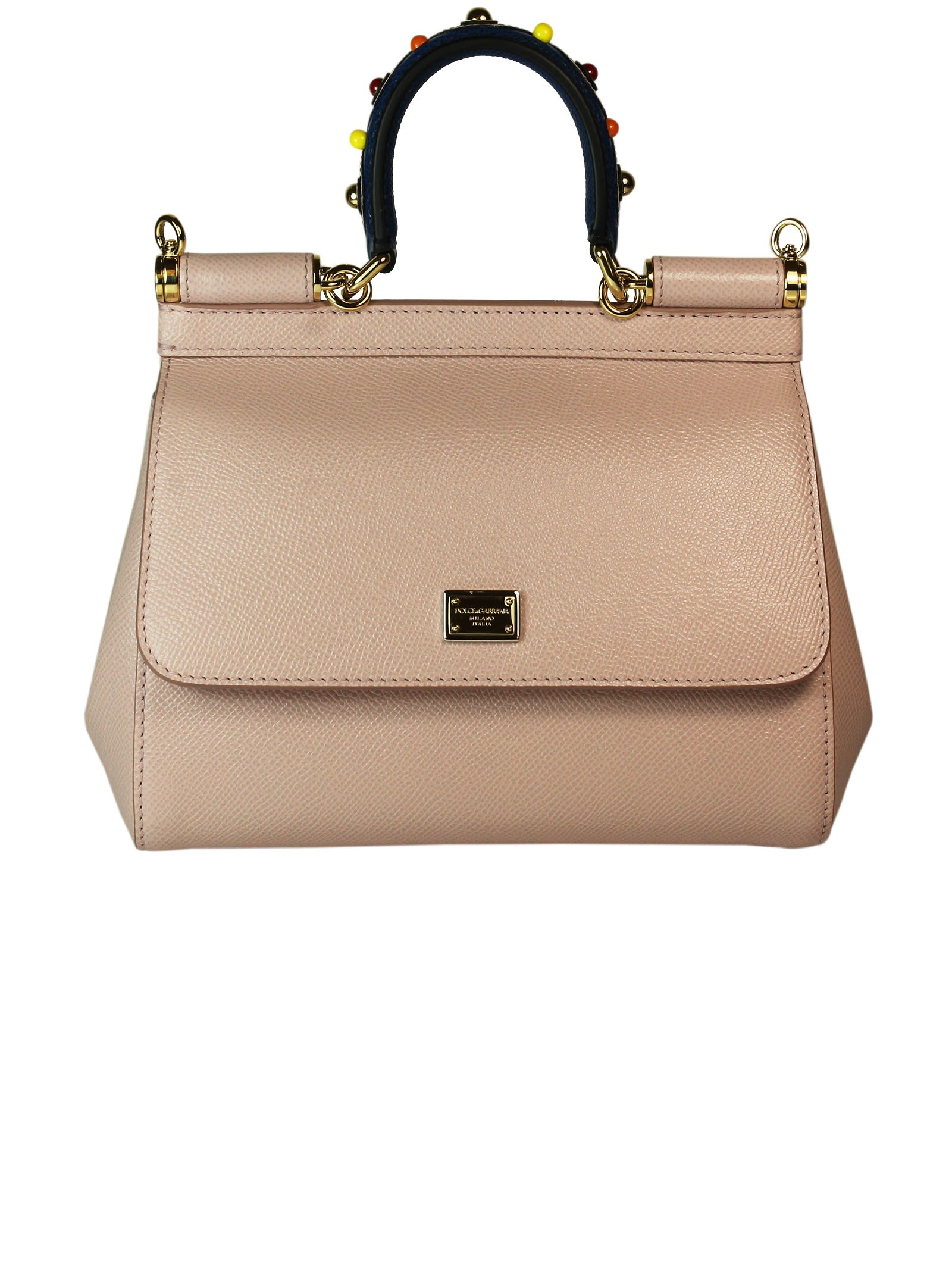 Pink Jewelled Handle Sicily Small Tote