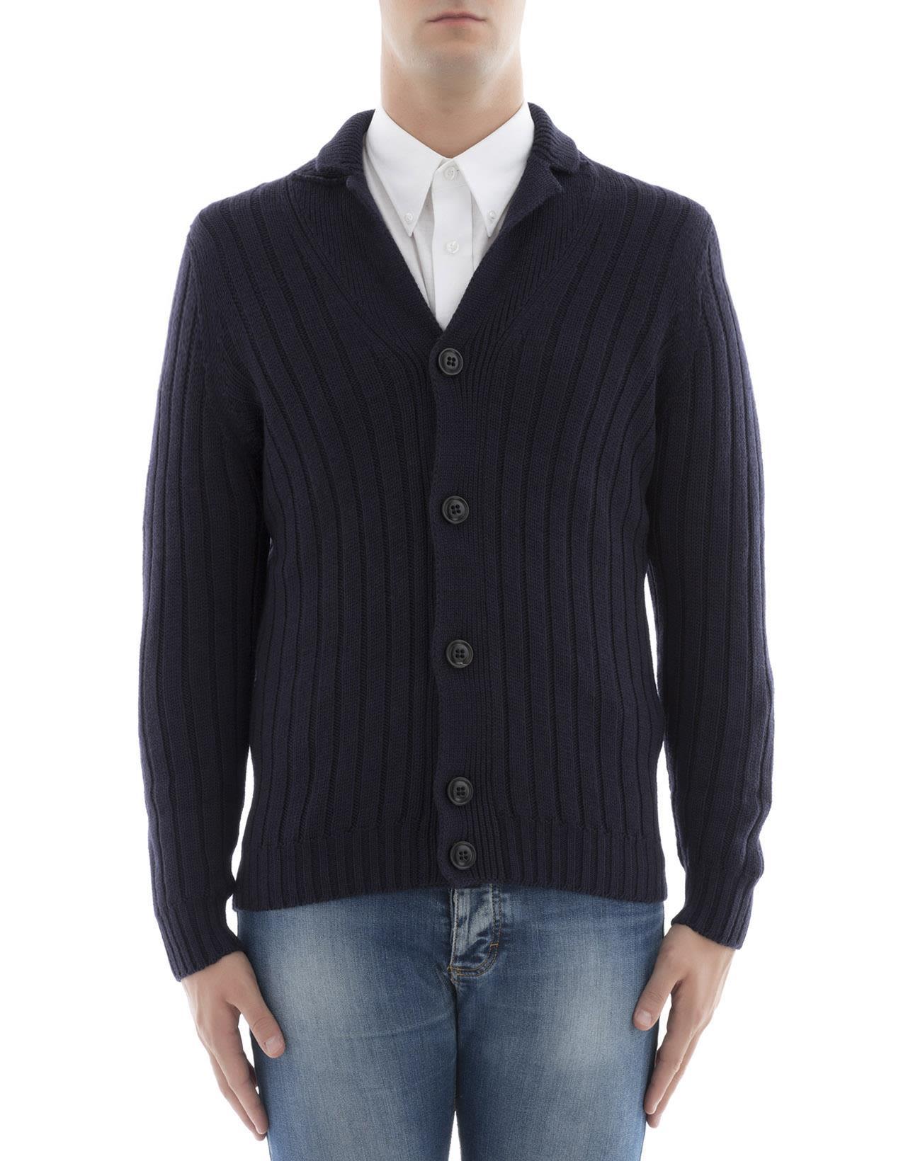 Drumohr - Blue Wool Cardigan - Blue - D5M451 785, Men's Sweaters ...