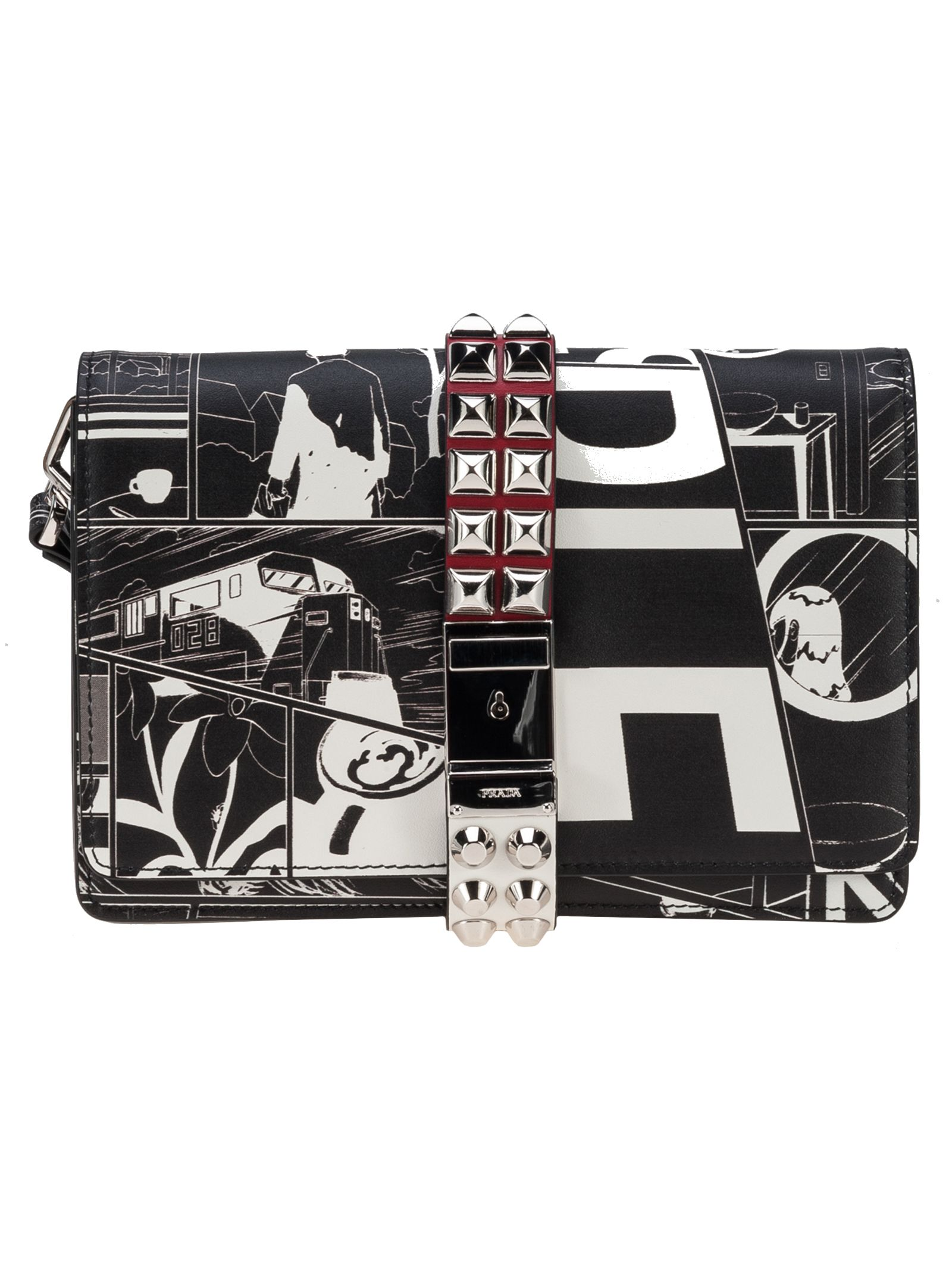 Prada Cartoon-print Wristlet Clutch Bag