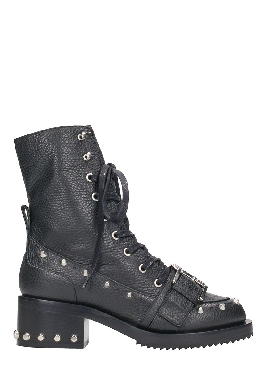 N.21 Black Calf Leather Lace Up Boots