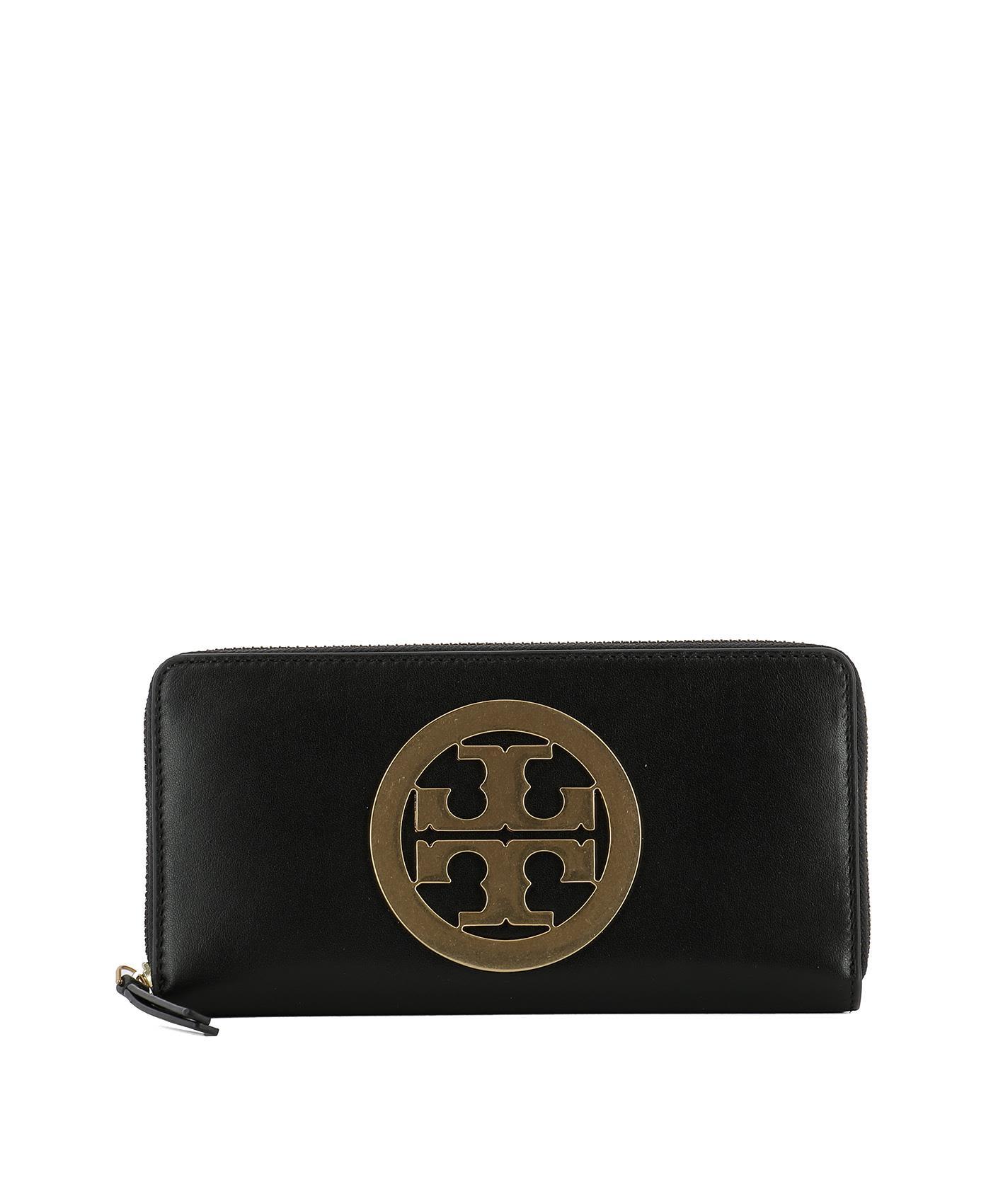 tory burch black leather wallet black womens wallets