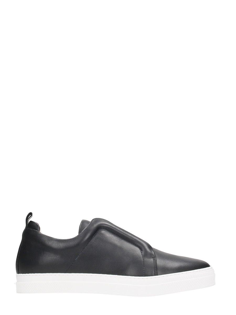 Pierre Hardy Slider Black Leather Sneakers