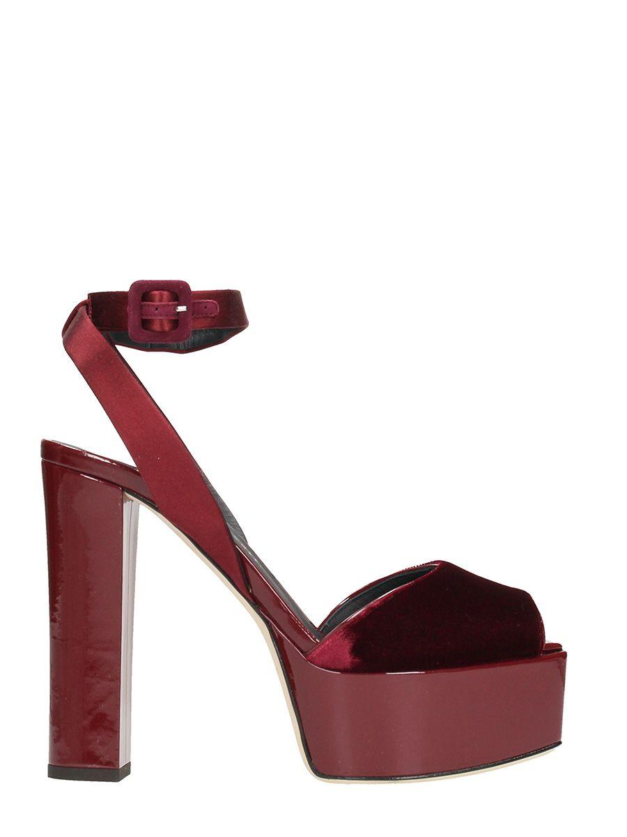 Giuseppe Zanotti Betty Burgundy Velvet Platform Sandals