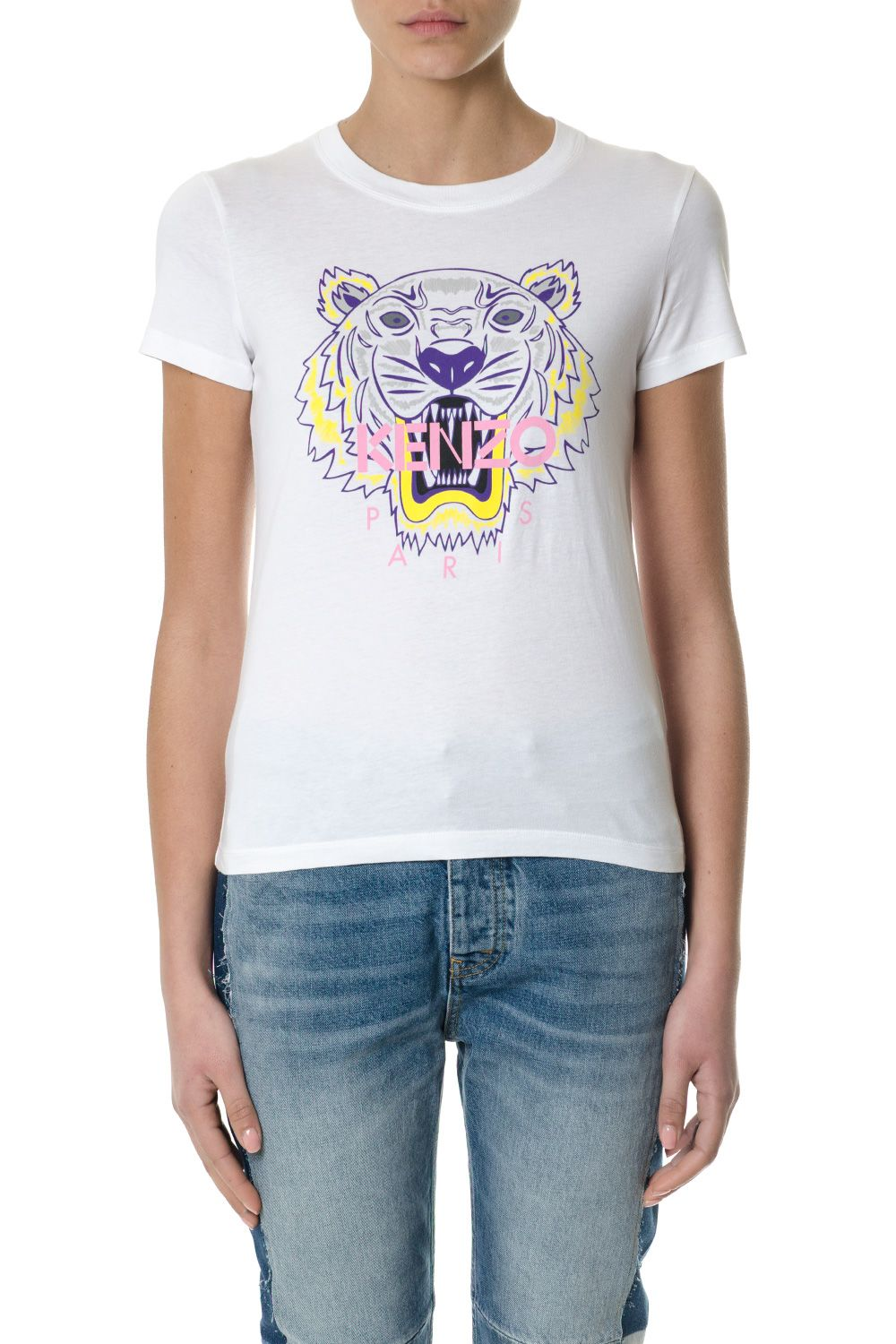 Kenzo White Cotton T-shirt With Tiger