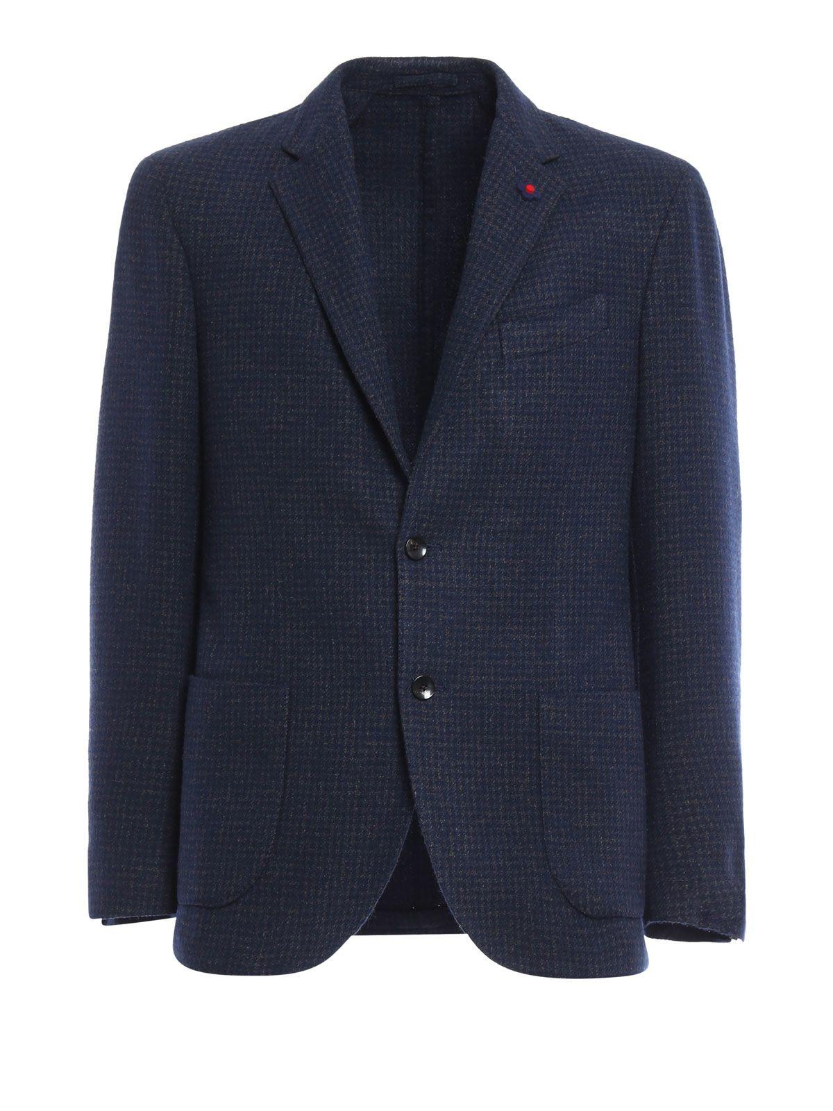 Lardini Check Patterned Wool Blend Blazer