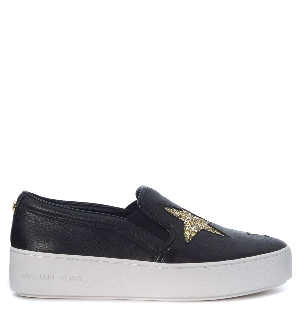 Slip On Michael Kors Pia In Black Tumbled Leather And Golden Stars
