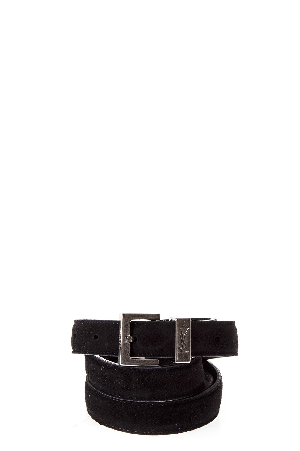 Saint Laurent Monogram Passant Buckle Belt In Black Leather