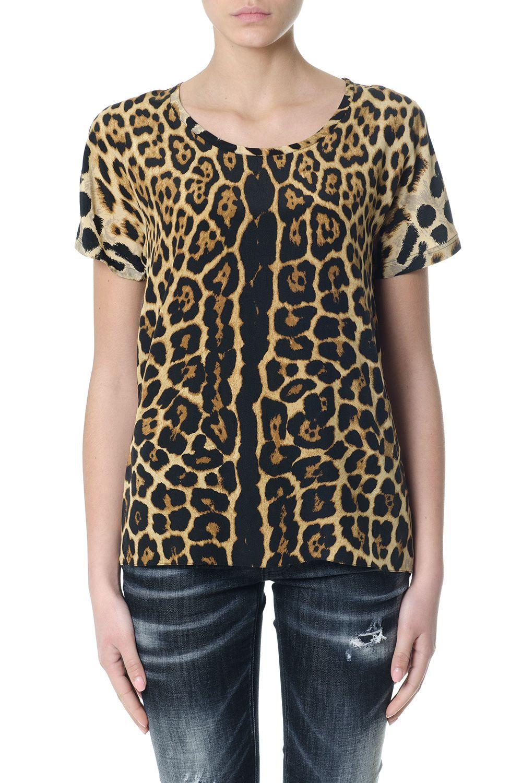 Saint Laurent Leopard Printed Silk Top