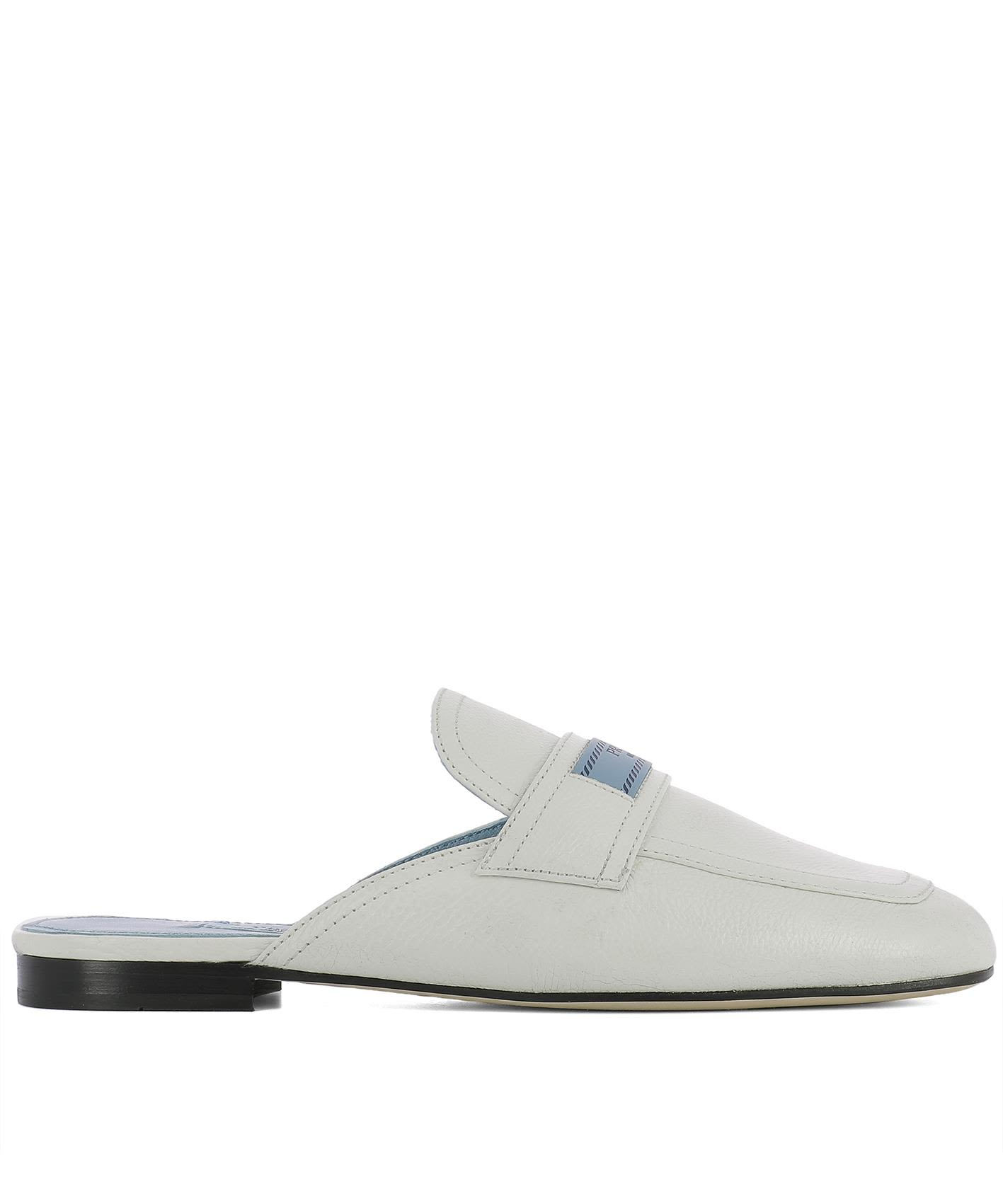White Leather Slippers