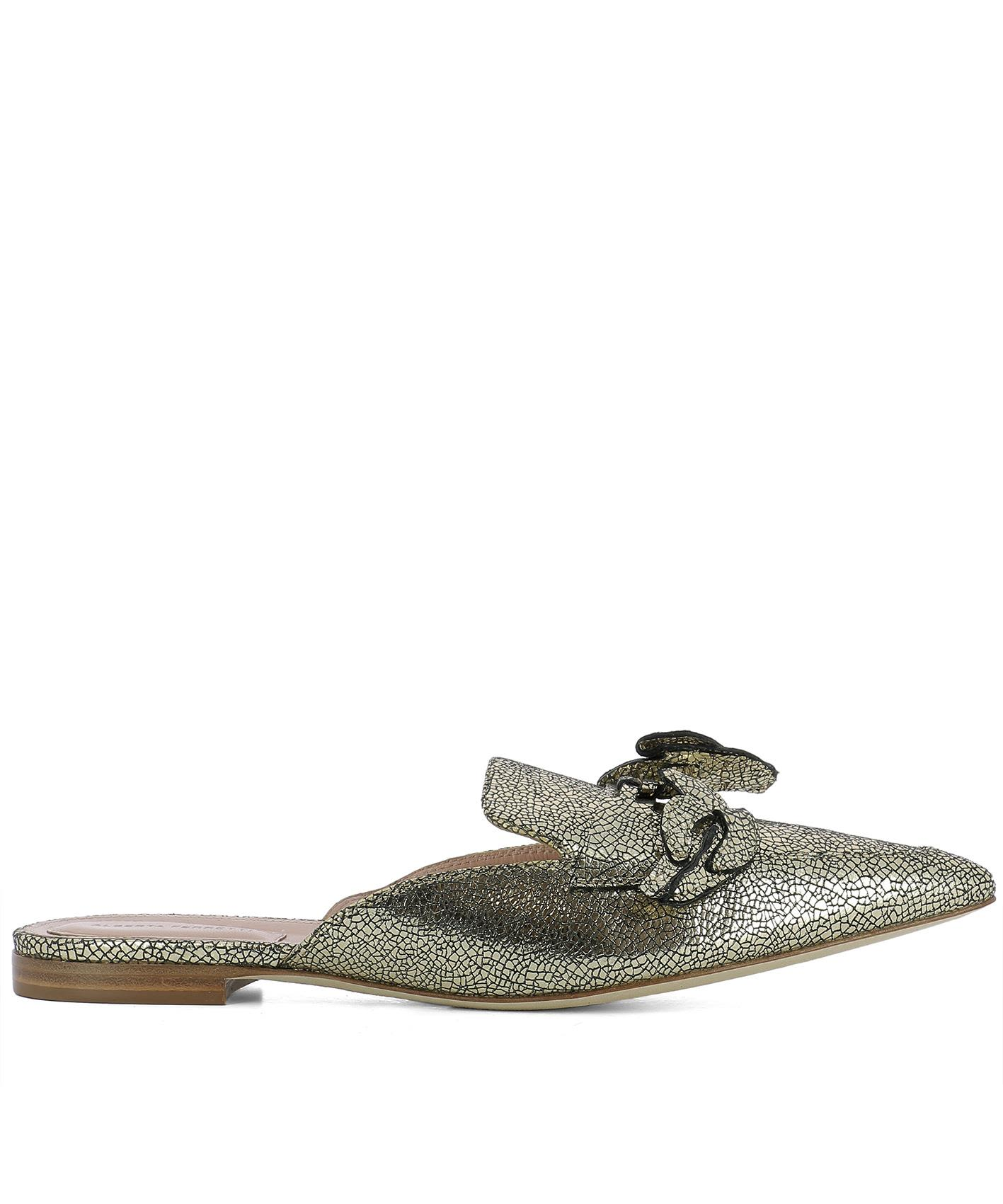 Gold Leather Slippers