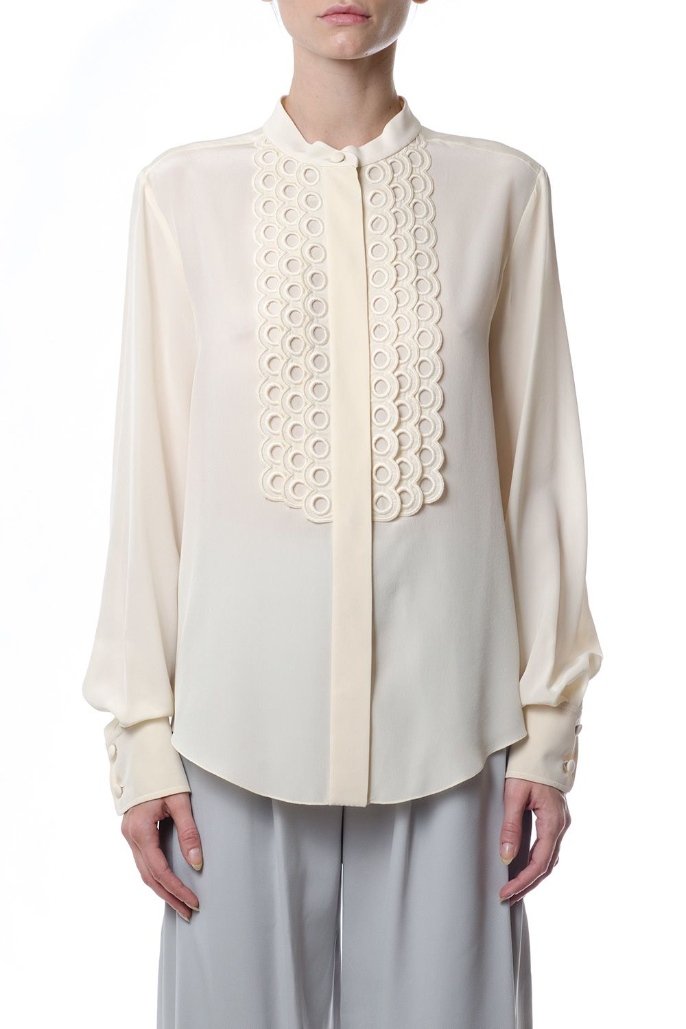 Chloé Mandarin Collar Silk Shirt