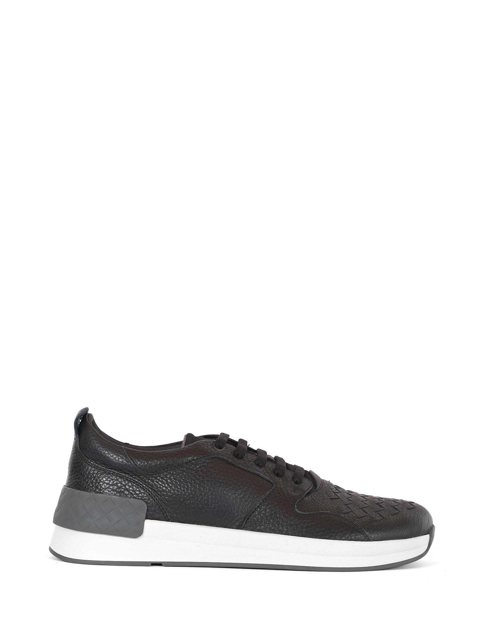 Bottega Veneta Braided Black Leather Sneakers