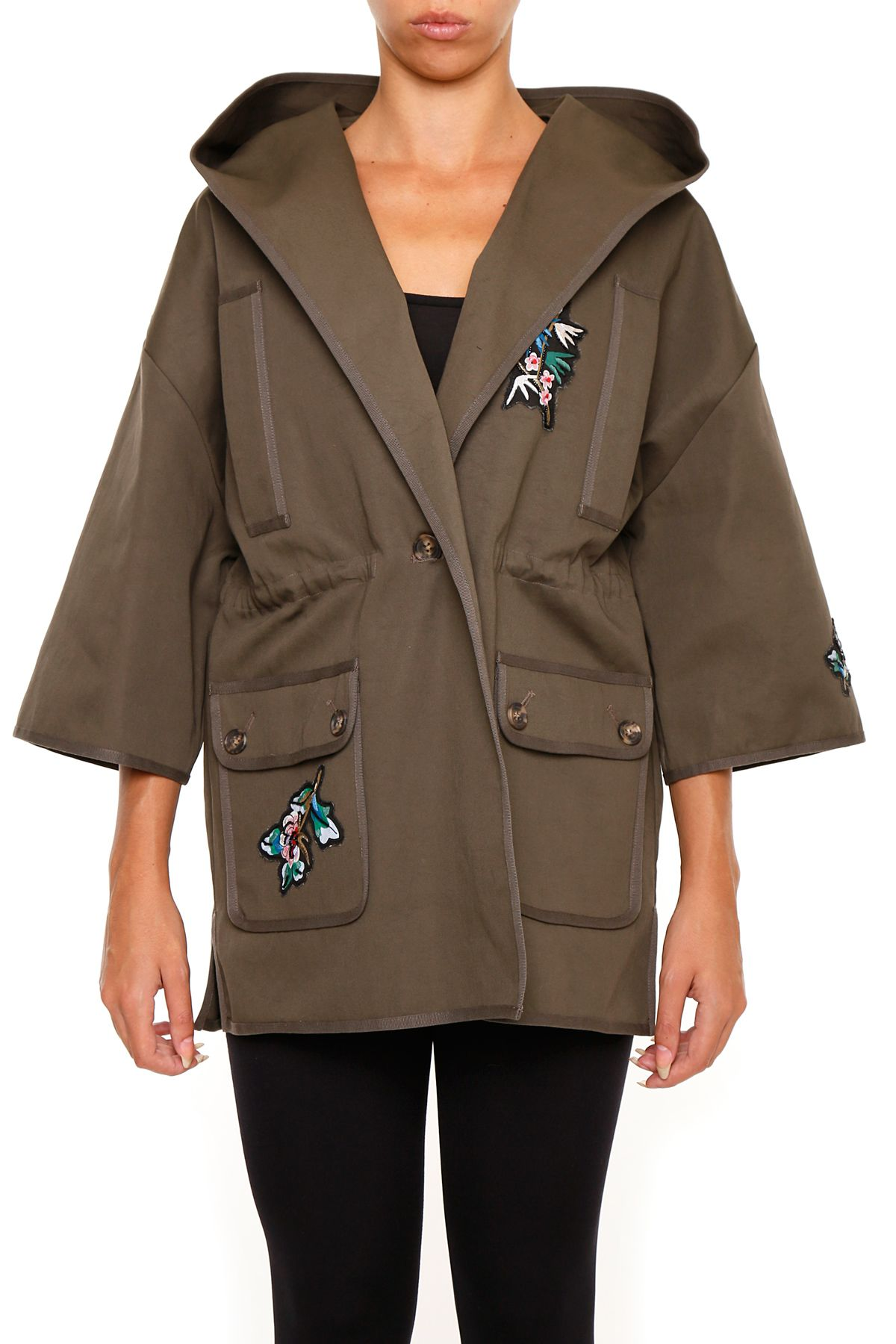 Gabardine Coat With Eagle And Flower Embroidery