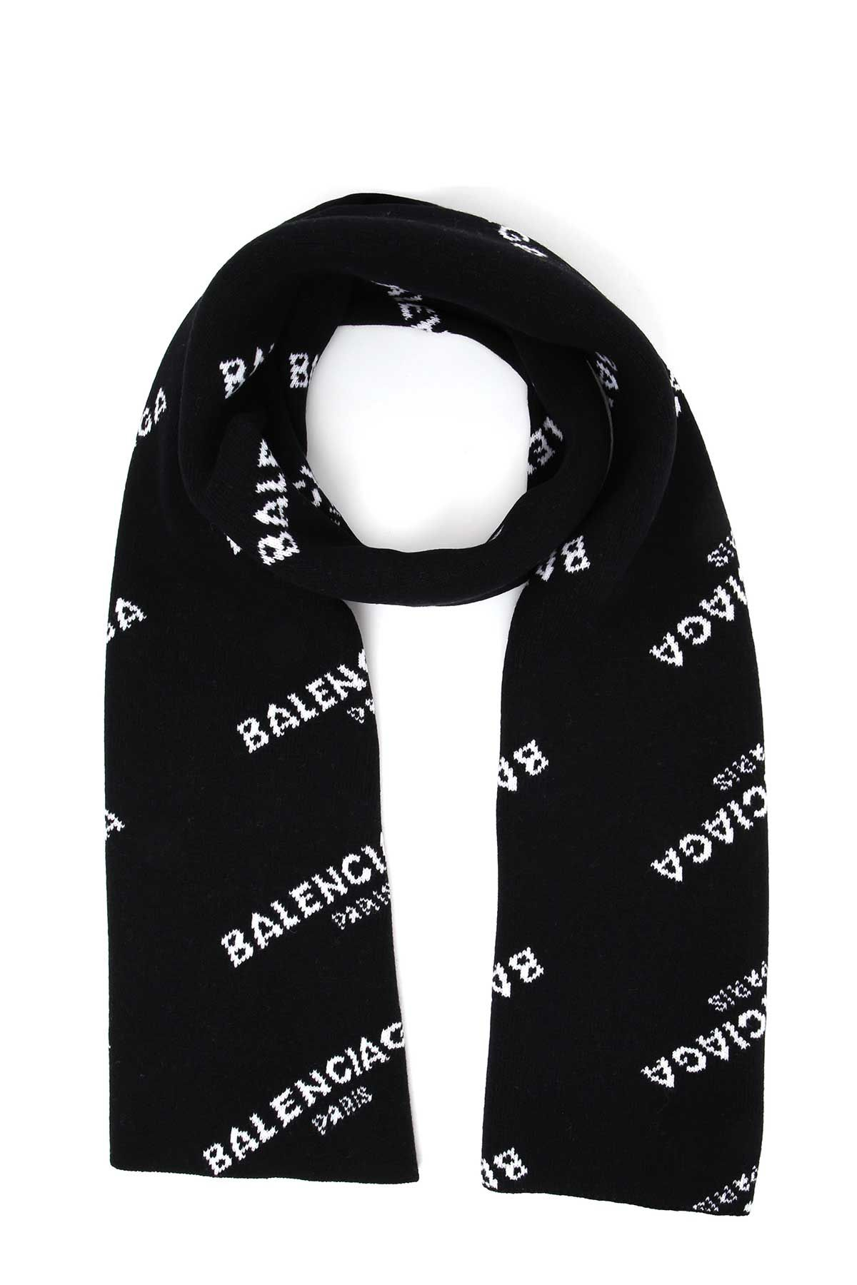 Balenciaga Knitted Scarf With Logo