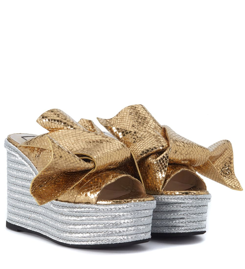 No21 N°21 Gold Laminated Leather Slipper With Bow