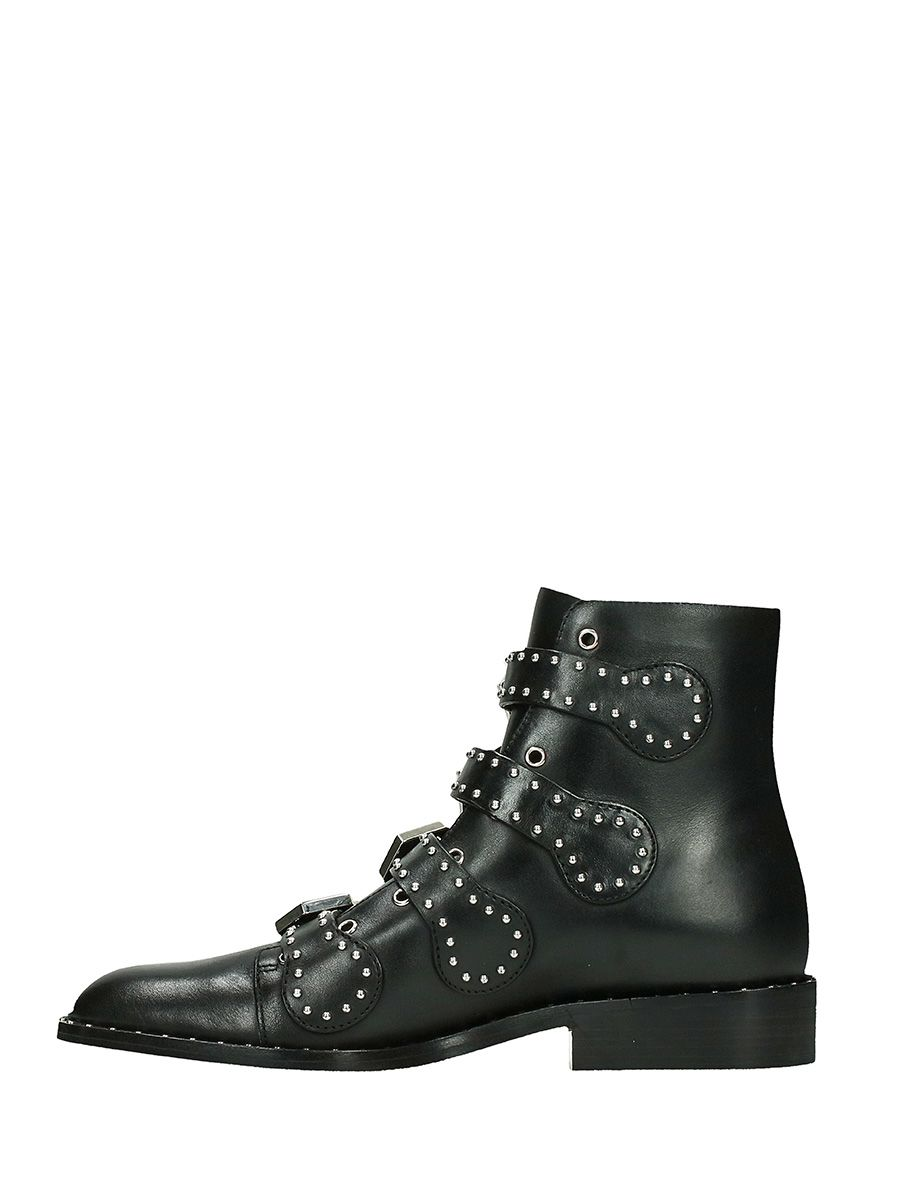 givenchy givenchy flat black leather ankle boots