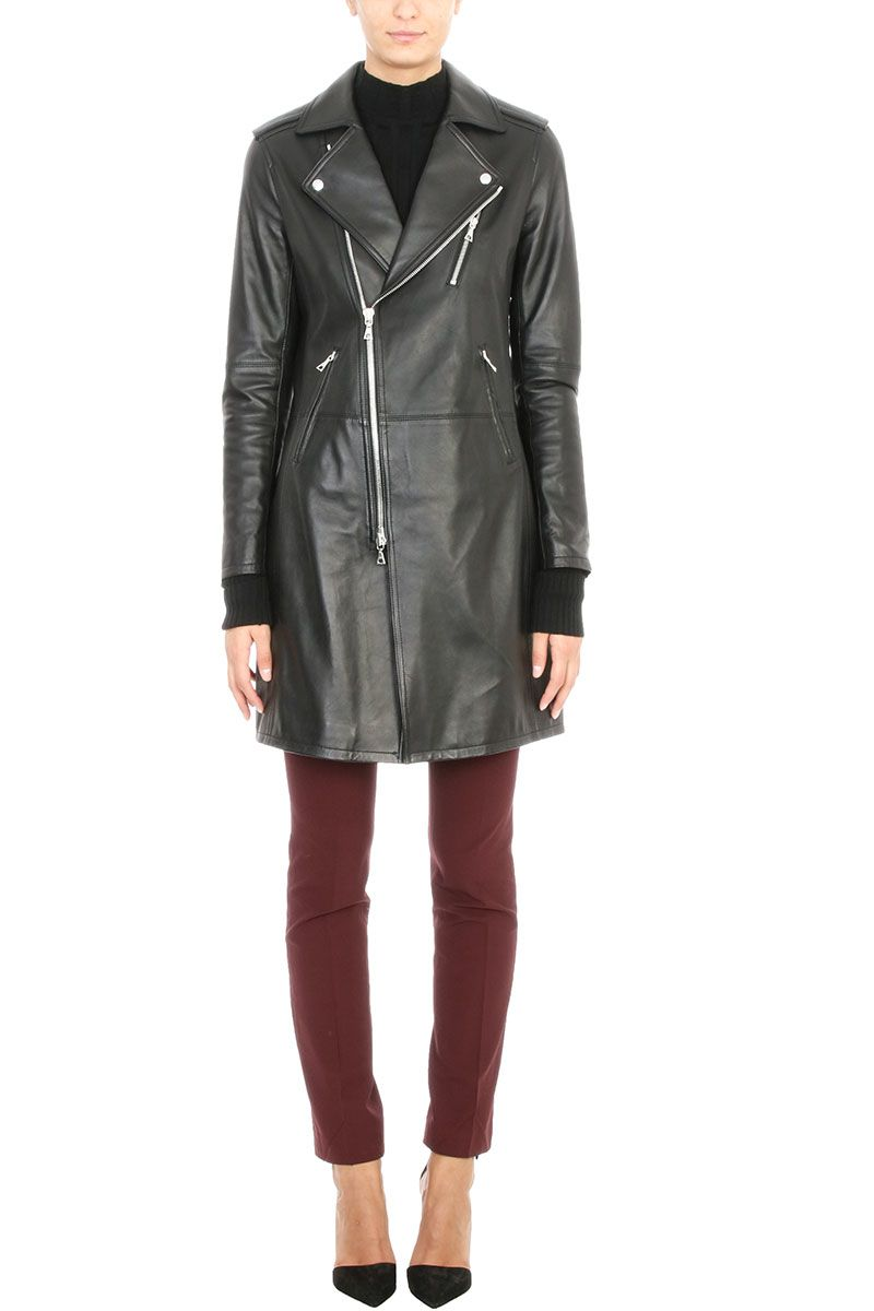 Theory Hilvan Black Leather Trench