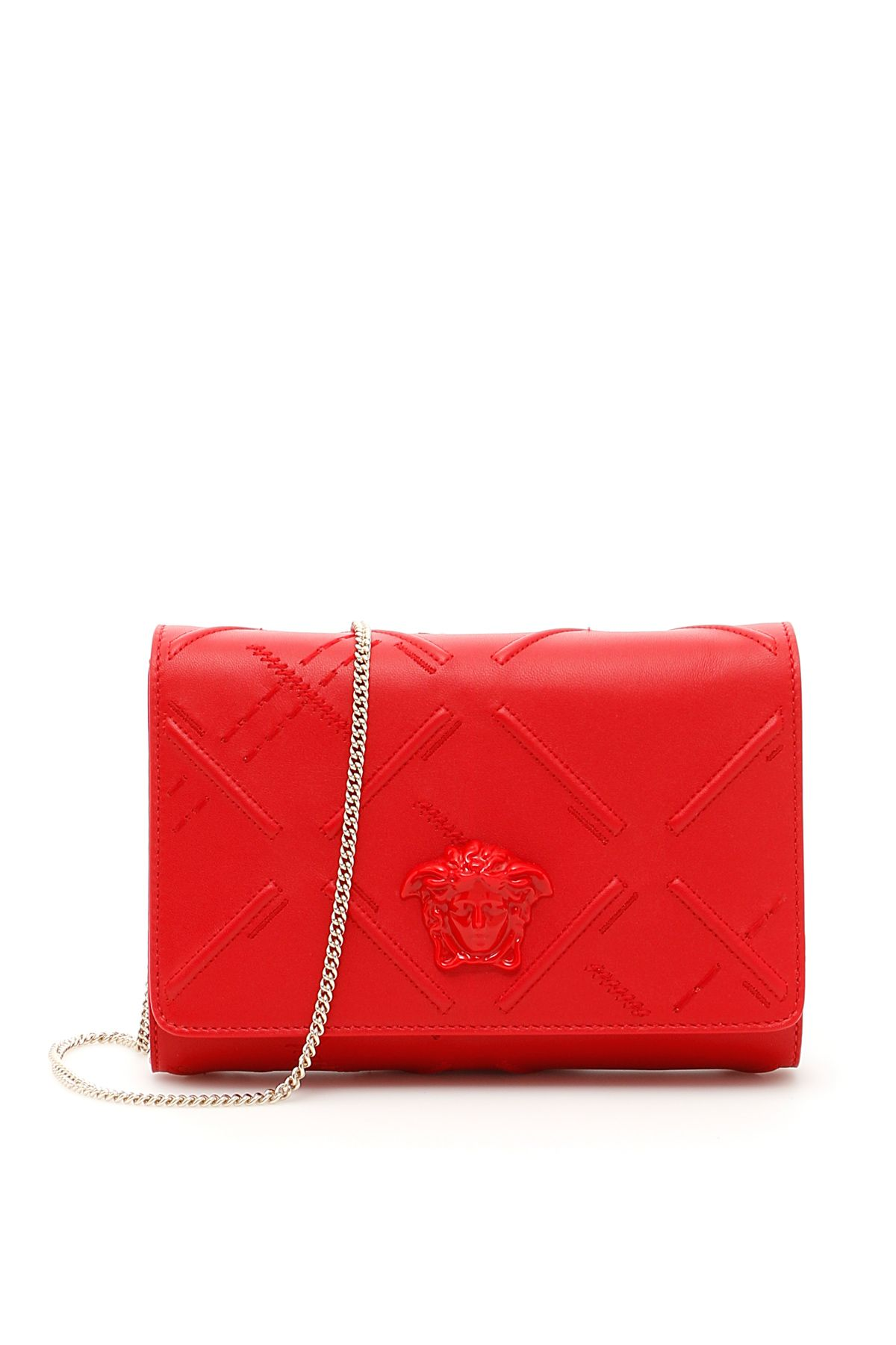 VERSACE NAPPA PALAZZO EVENING CLUTCH WITH EMBROIDERY 2a64360ef24be