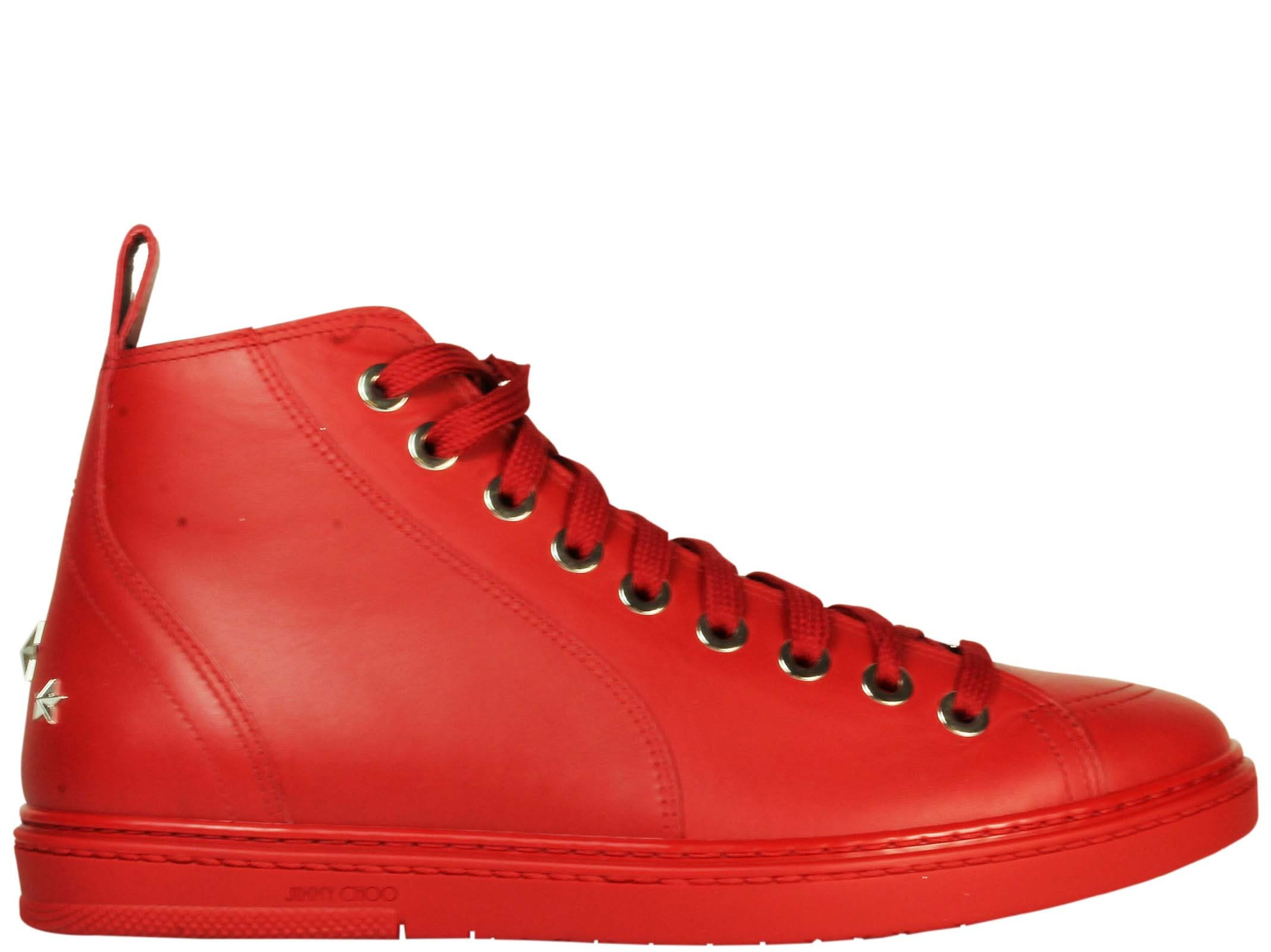 Jimmy Choo Colt Deep Red Hi-top Sneakers