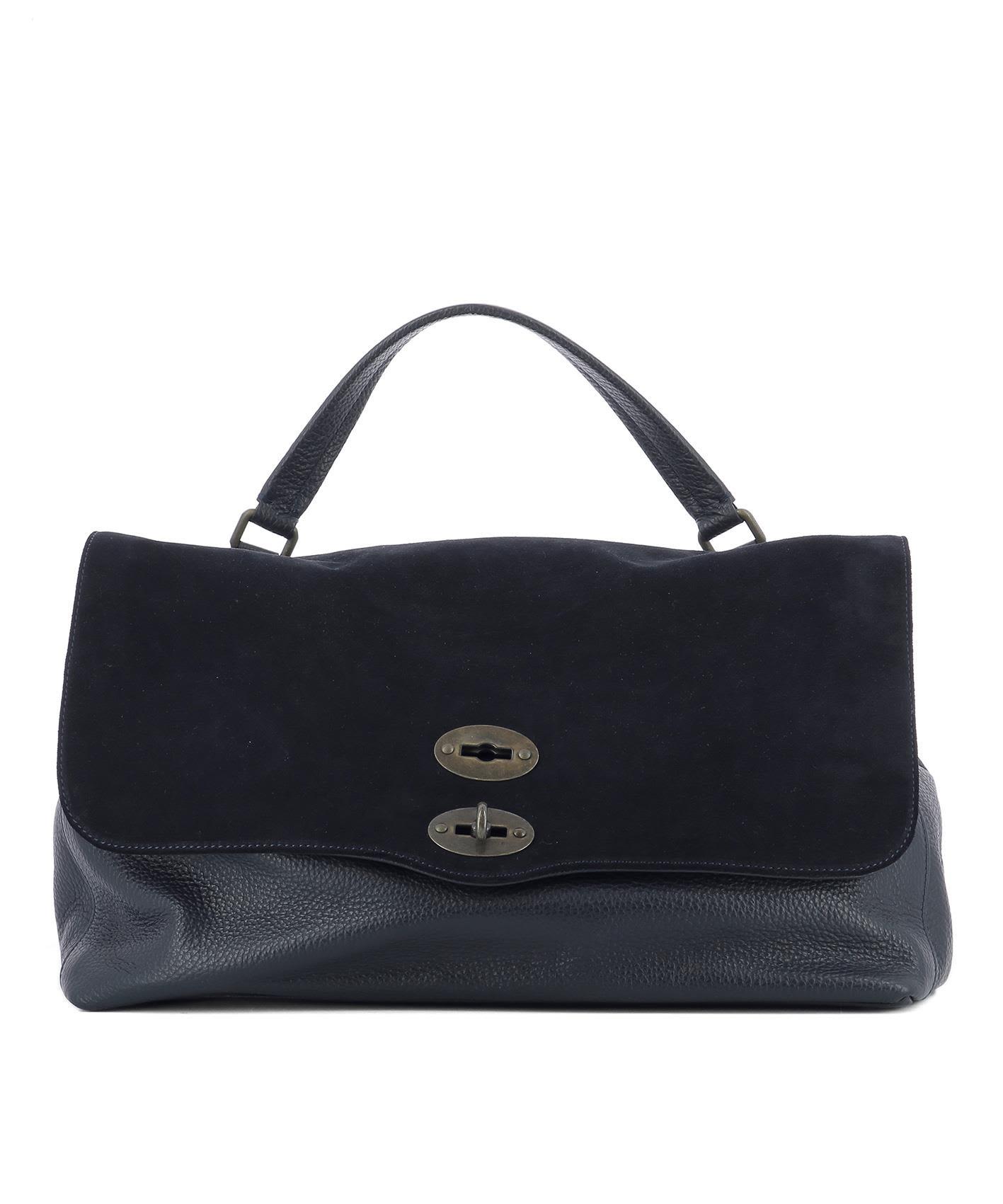 Blue Leather La Postina M Handle Bag