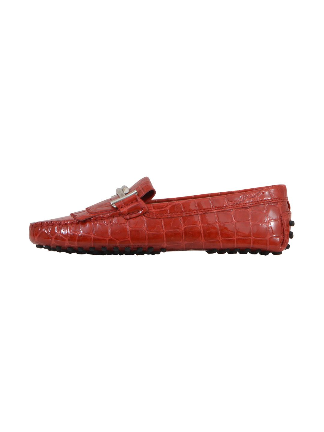 Tods Red Double T Loafers