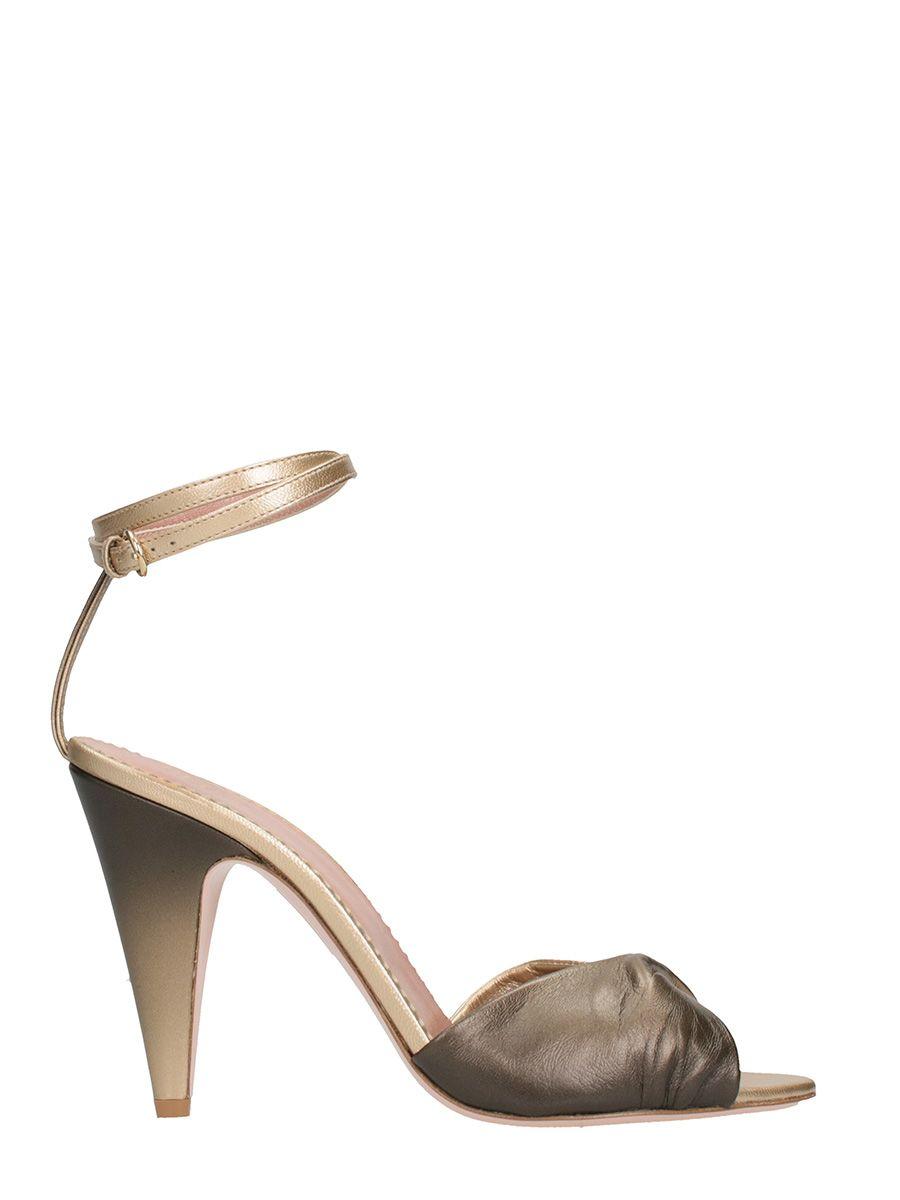 RED Valentino Bicolor Metal Gold Sandals