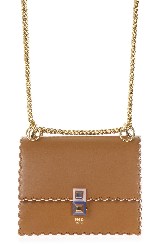 Fendi Camellia Small Kan I Leather Bag