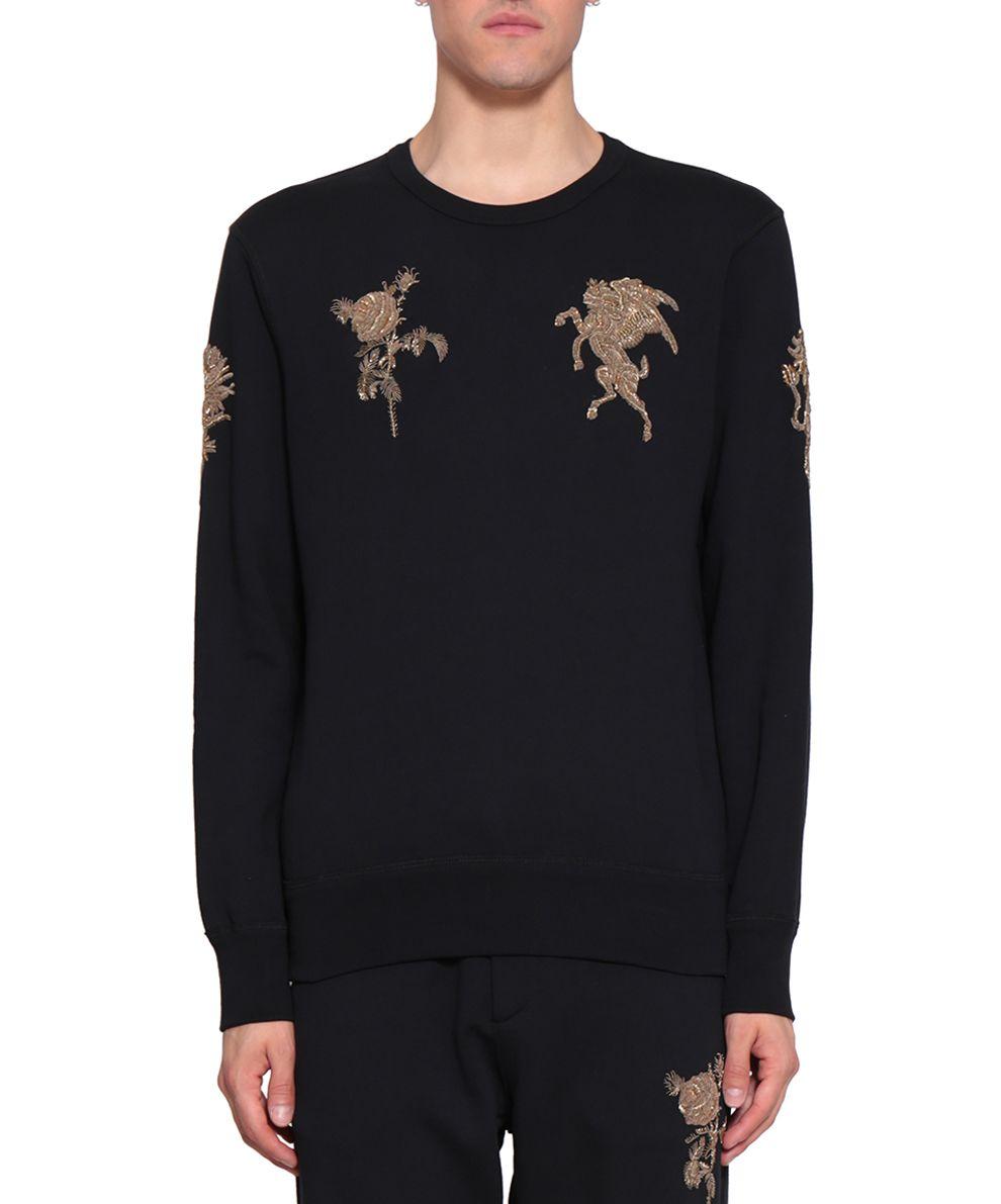 alexander mcqueen alexander mcqueen embroidered cotton sweatshirt nero men 39 s fleeces italist. Black Bedroom Furniture Sets. Home Design Ideas