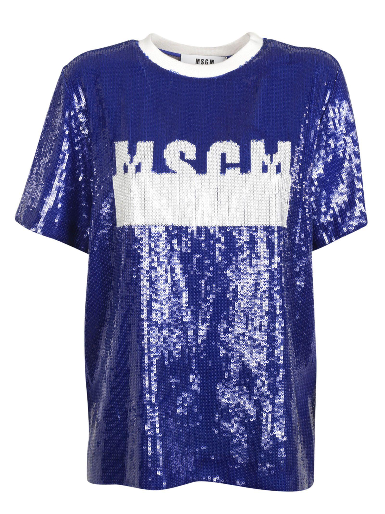 Msgm: Blue Sequin Embellished T-shirt