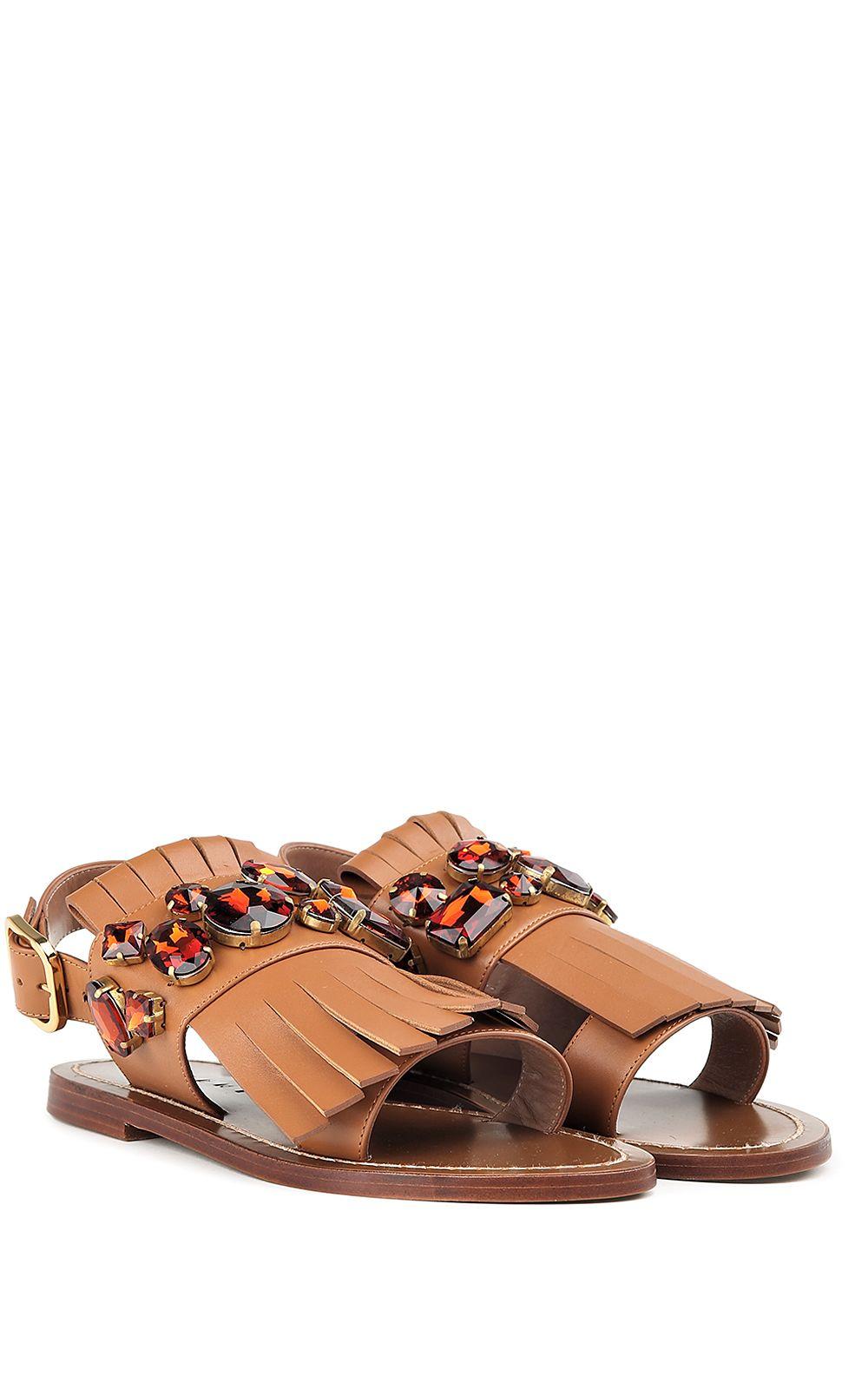 Marni Embellished Leather Flat Sandals