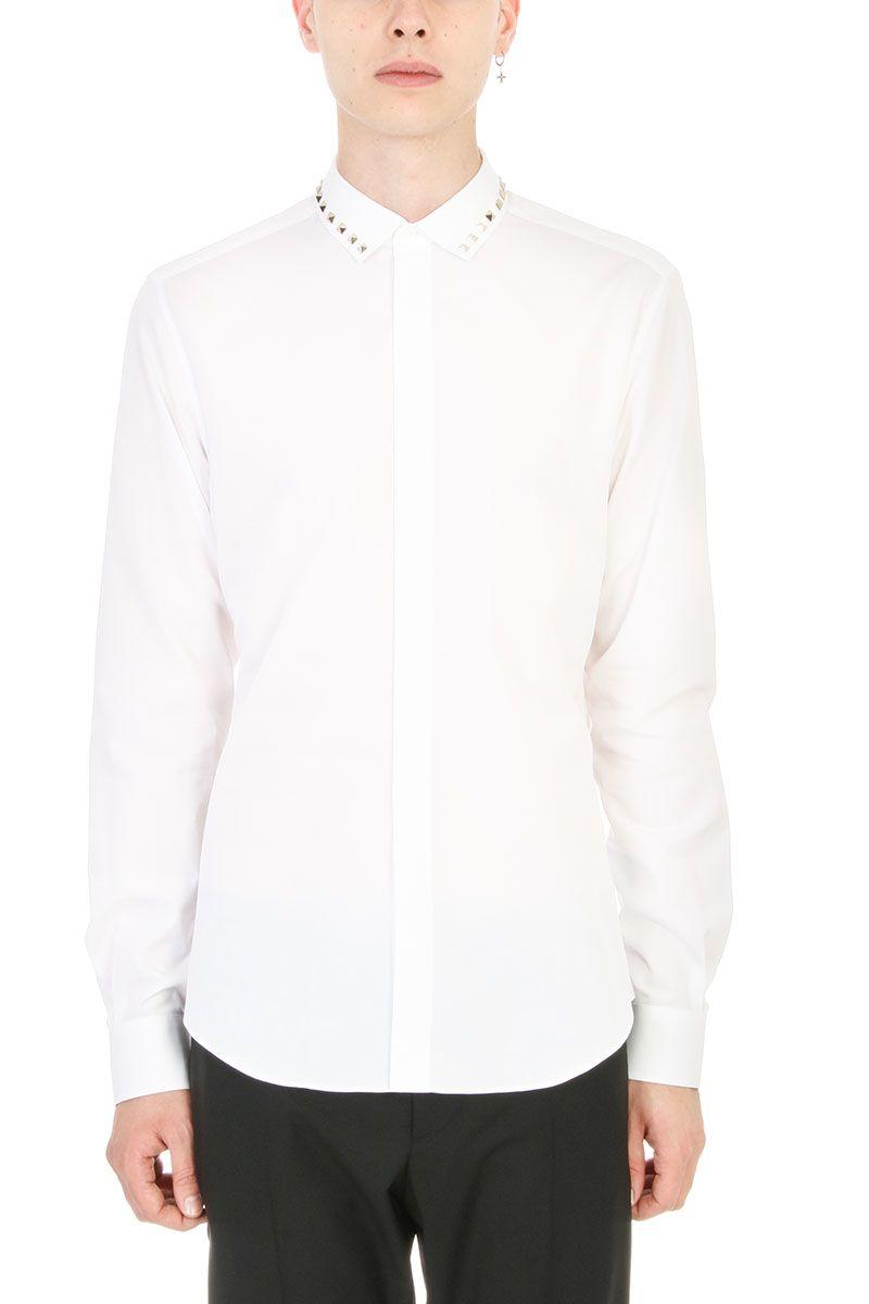 Valentino White Studs Cotton Shirt
