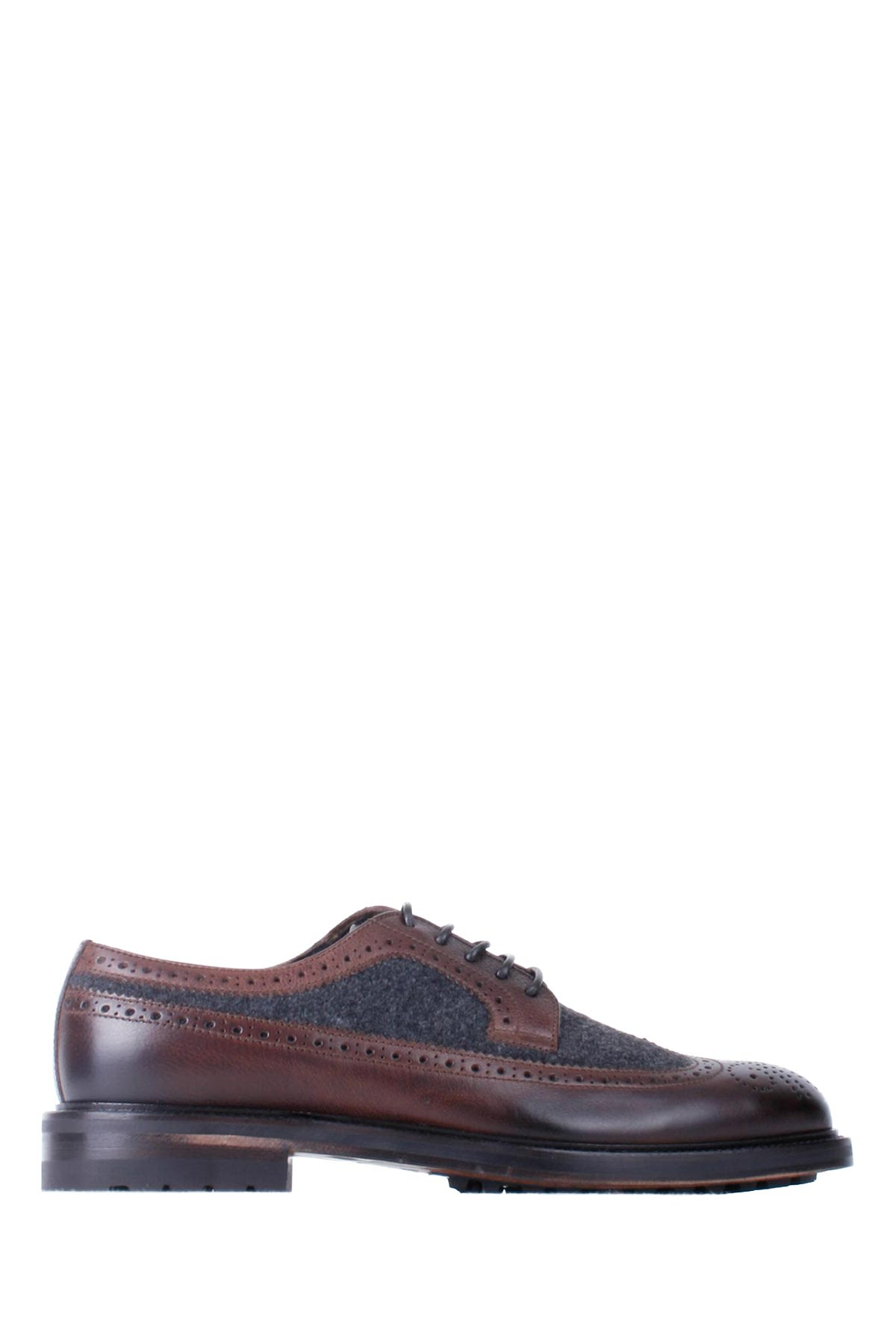 Doucals Brown-dark Grey Leather Man Laced Derby Shoes
