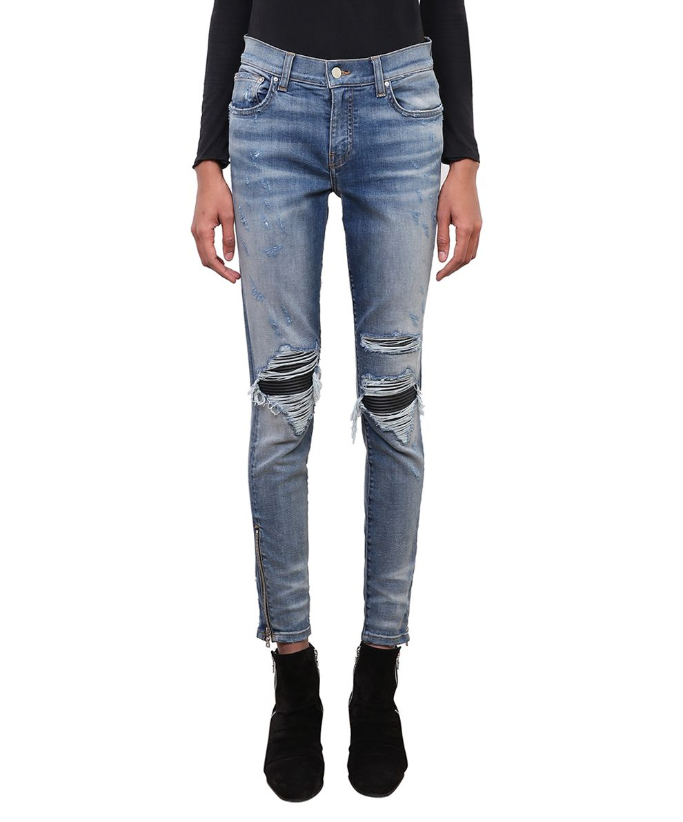 Mx1 Classic Leather Patch Jeans in Blu