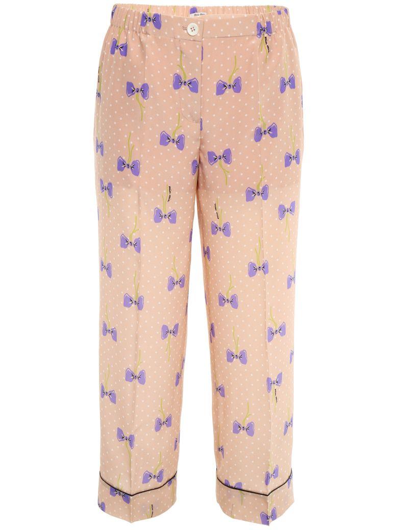 Miu Miu Printed Silk Trousers - CIPRIA|Rosa