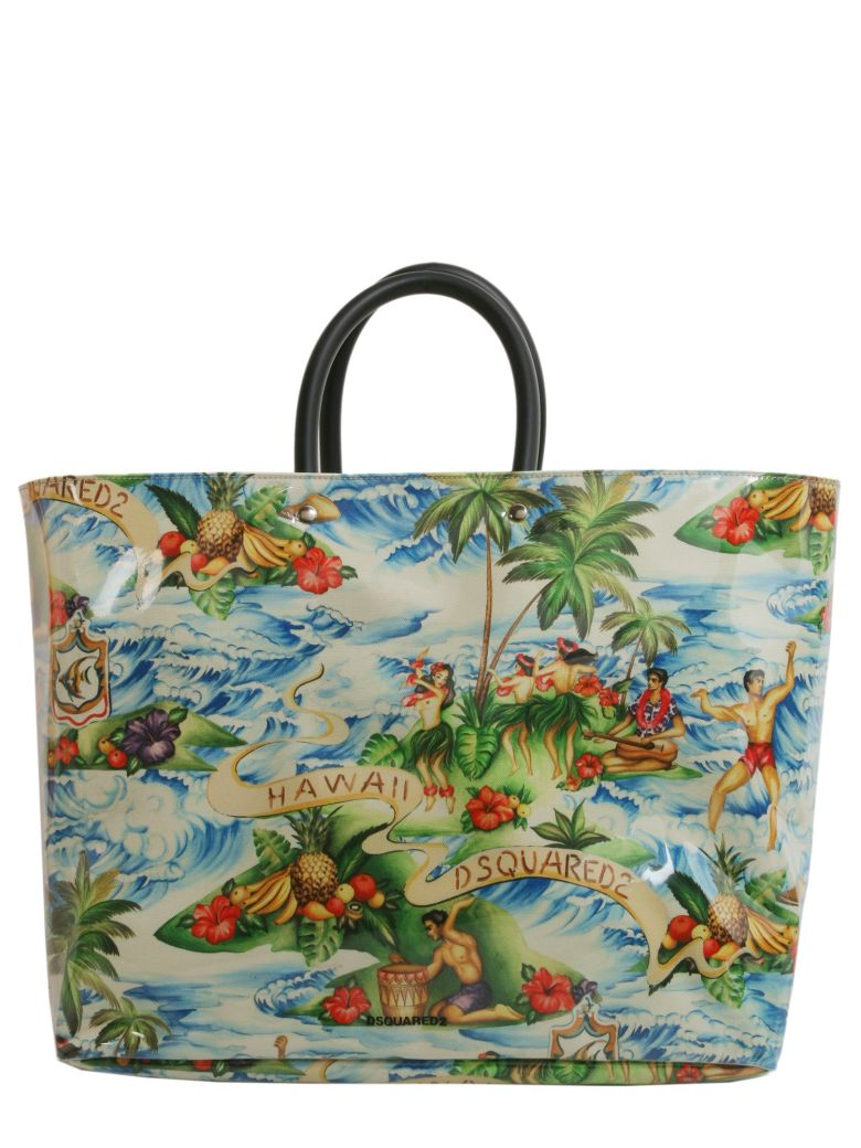 Dsquared2 HAWAII PRINTED CANVAS & PVC TOTE BAG Y61cLlg
