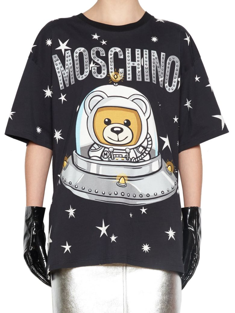 Bear Spaceship-Print Cotton-Jersey T-Shirt, Black