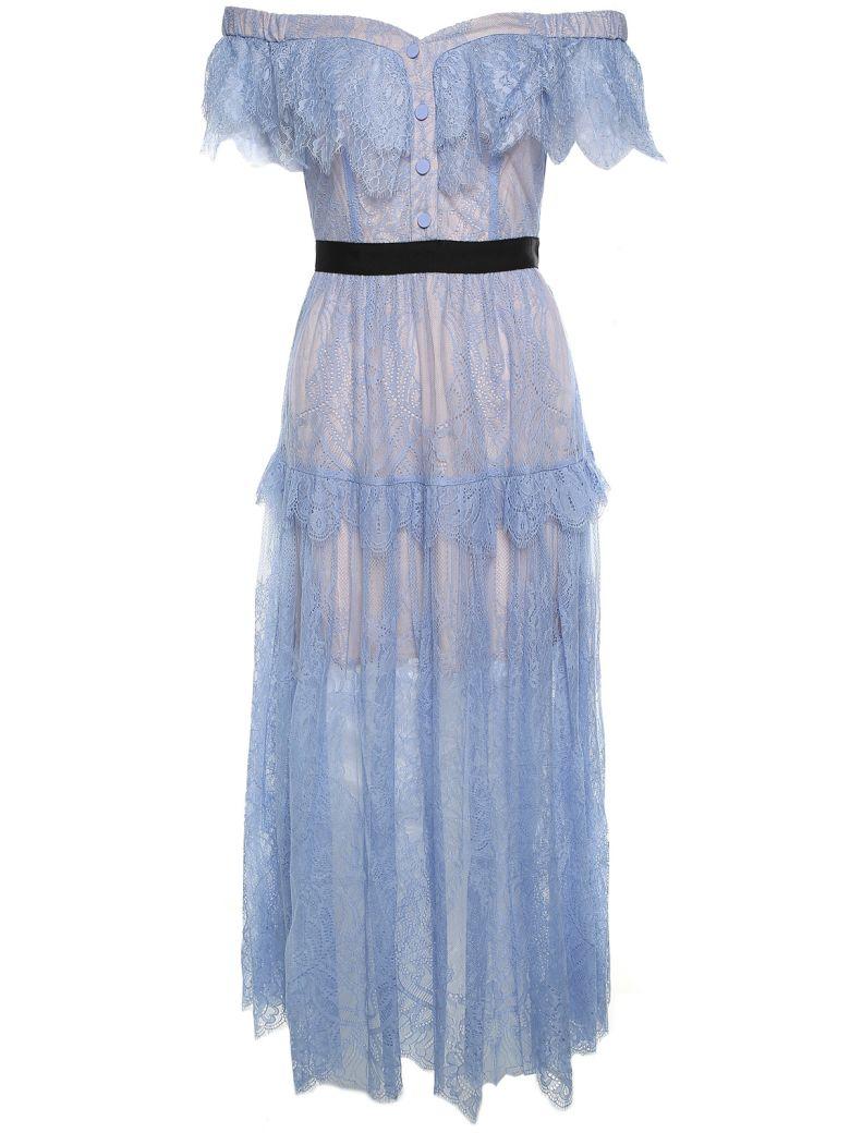 SELF-PORTRAIT SELF PORTRAIT WOMEN'S LIGHT BLUE OFF THE SHOULDERS FINE LACE DRESS