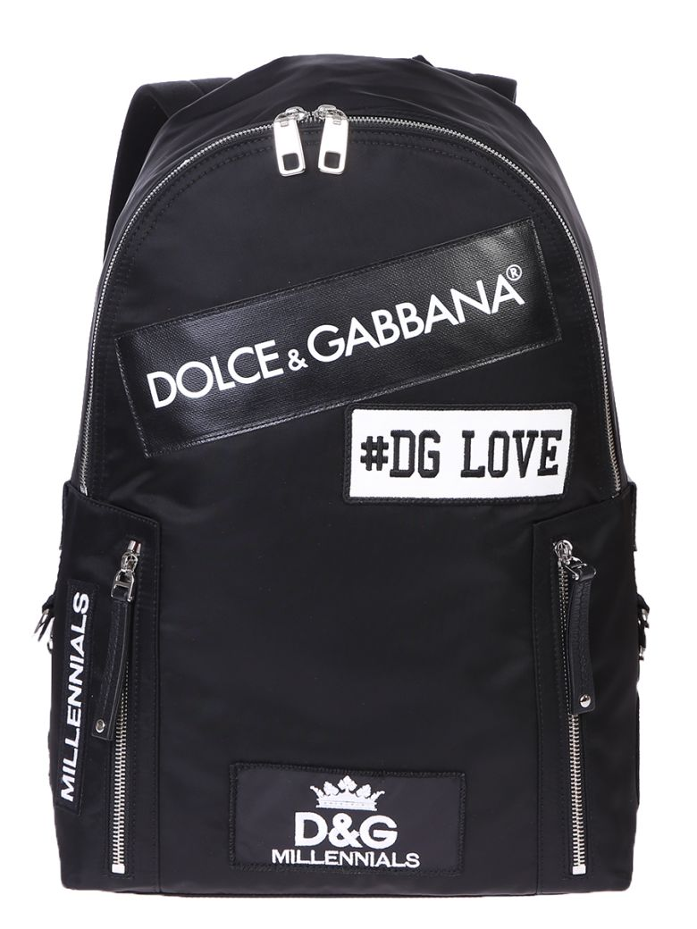 Dolce & Gabbana Canvases BLACK PATCHED BACKPACK