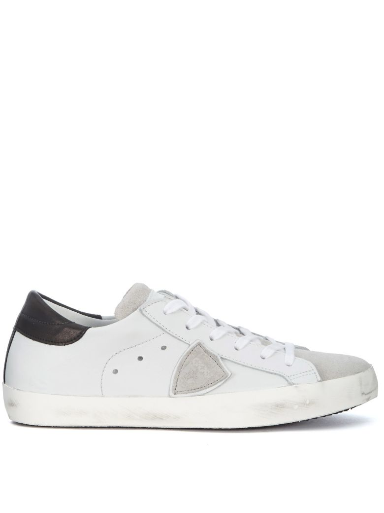 PHILIPPE MODEL Paris White And Grey Leather And Suede Sneaker