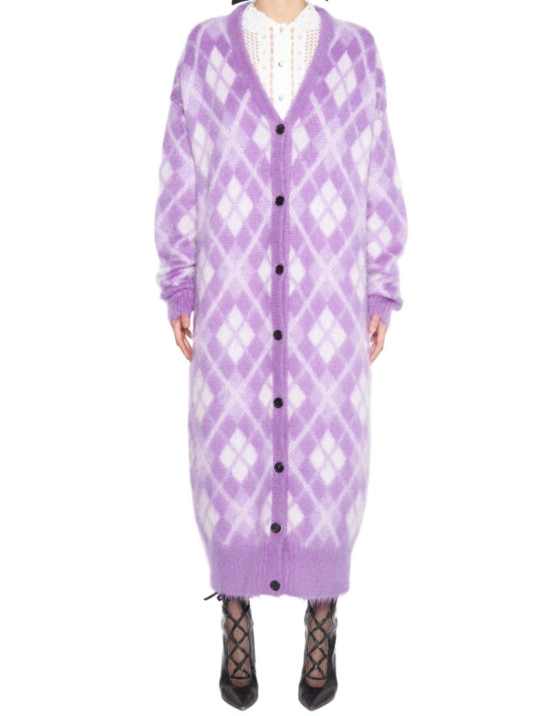 Diamond Intarsia Knit Longline Cardigan In Purple