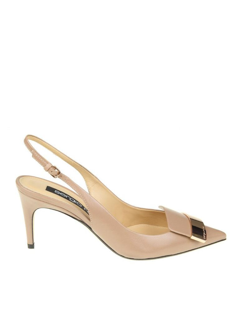 CHANEL POINTED IN LEATHER NUDE COLOR WITH GOLD METAL PLAT
