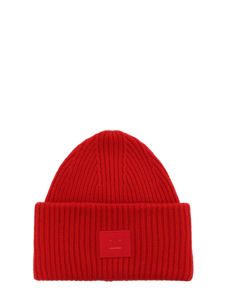 ACNE STUDIOS Pansy N Face Wool-Blend Beanie, Red