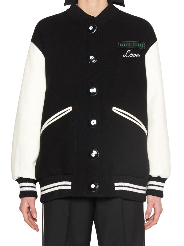Knit Wool Jacket With Leather Trim, Black