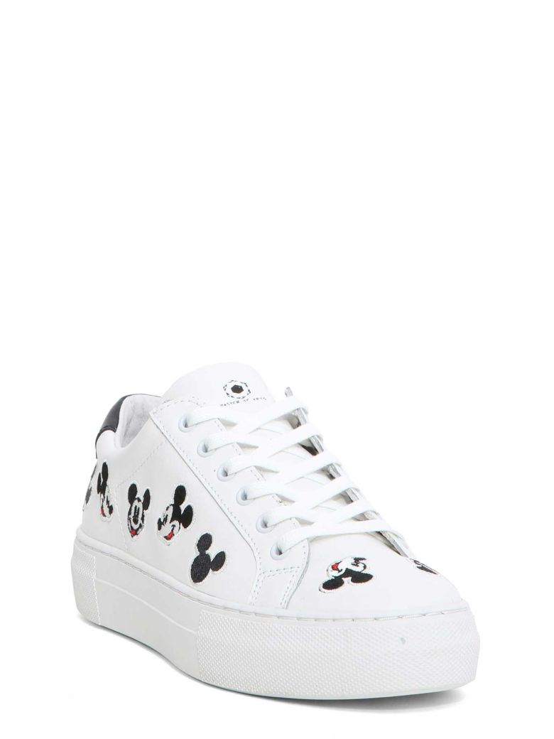 MOA COLLECTION MOA MICKEY MOUSE WHITE LEATHER SNEAKERS
