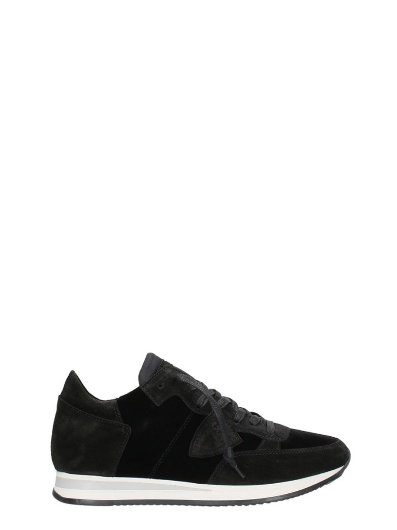 PHILIPPE MODEL Tropez Velvet Black Sneakers