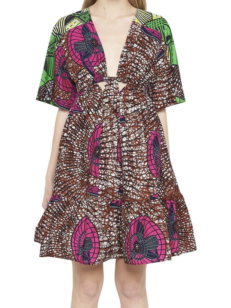 42868e6631a4 Stella Mccartney Saniya Plunging Twisted-Front Dutch Fan-Print Dress With  Peplum Hem In