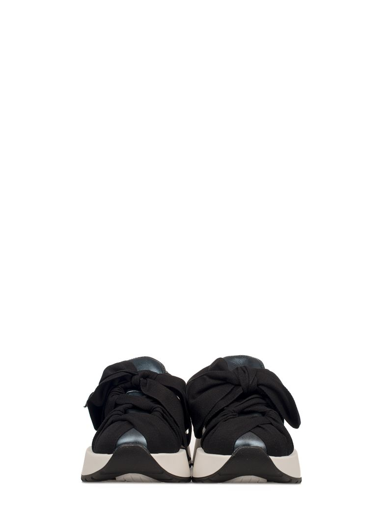 26e02d0e0f88 MM6 MAISON MARGIELA BLUE-BLACK METALLIC FAUX LEATHER SLIP ON WEDGE SNEAKERS