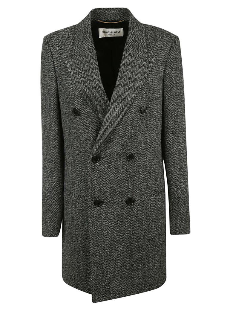 Double-Breasted Herringbone Wool Coat, Grey/Black