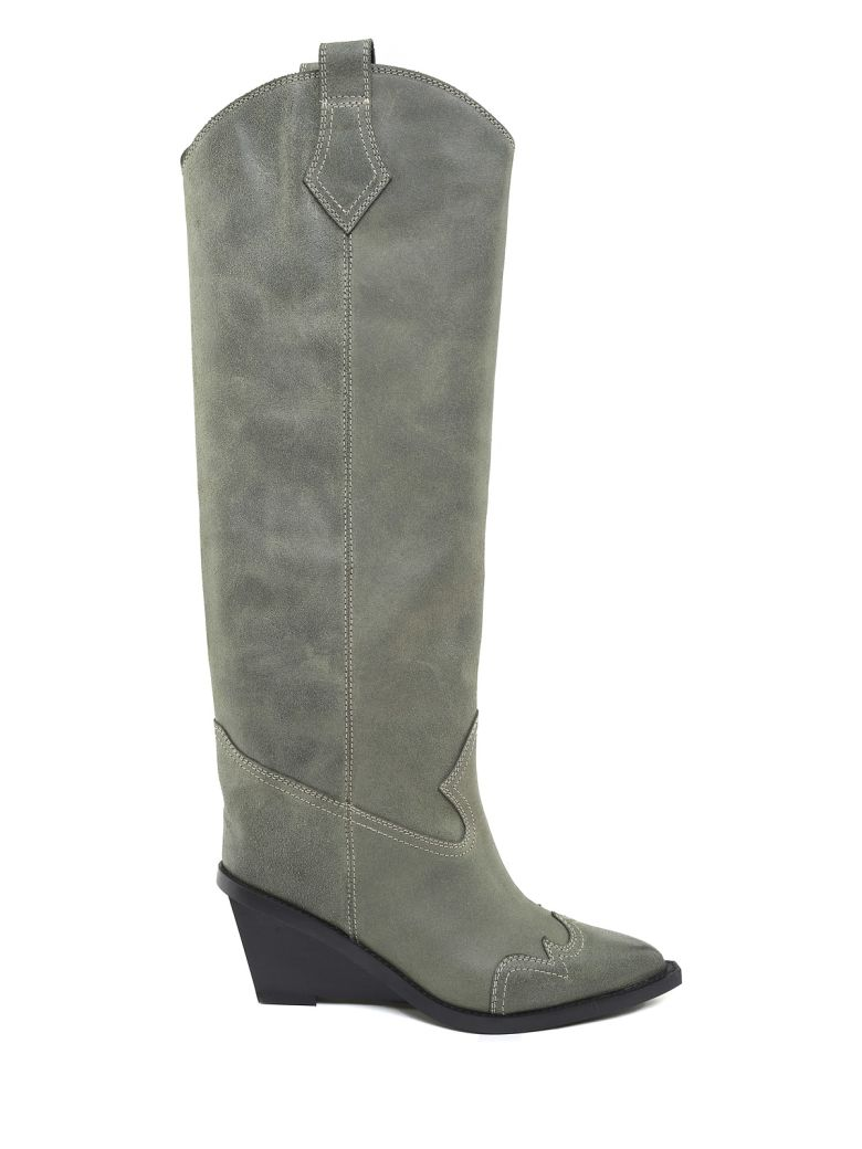 Western Vintage-Leather Knee-High Boots in Green